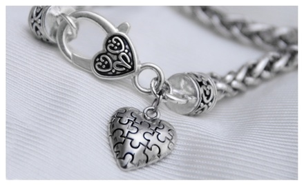 Autism Awareness 3D Puzzle Piece Heart on Heart-Shaped Lobster Clasp Bracelet