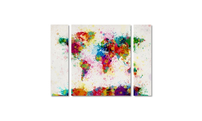 Up to 71 off on michael tompsett paint splas groupon goods groupon goods michael tompsett paint splashes world map multi panel canvas gumiabroncs Choice Image