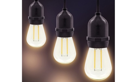 Weatherproof Edison-Style String Lights with 15 Sockets and LED Bulbs