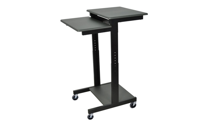 Luxor Adjustable Height Presentation Lectern Cart With 2 Storage Shelf
