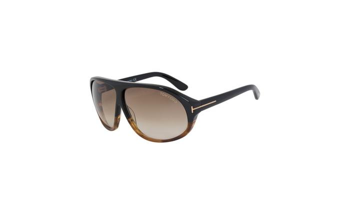d3c1af9aa7 Nicolo Men s Shield Sunglasses FT0241 05P 64 - Black and Havana Frame -  Brown