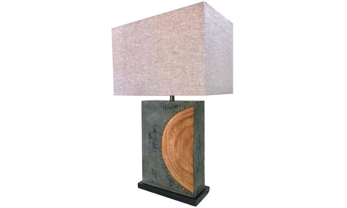 wooden rustic sun table lamp with large rectangular shade by kauri