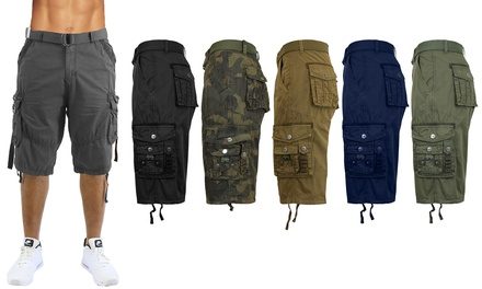 Galaxy By Harvic Men's Classic-Fit Distressed Belted Cargo Shorts (30-48)