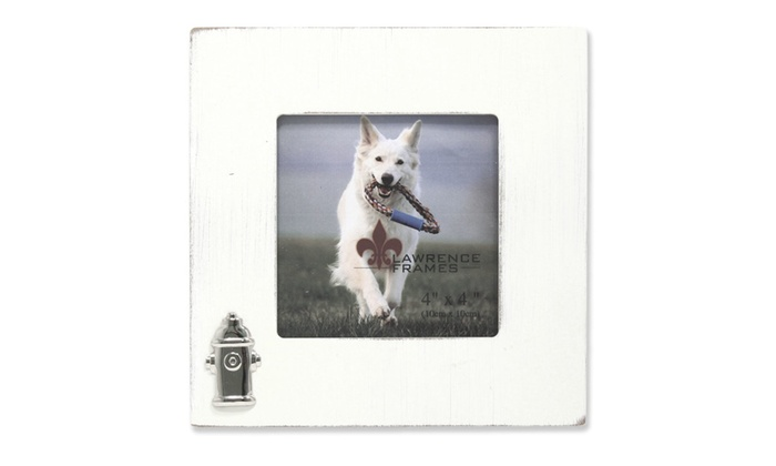 4x4 White Wash Dog Frame with Fire Hydrant Ornament   Groupon