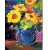Sheila Golden Blue and Yellow Composition Canvas Print 18 x 24