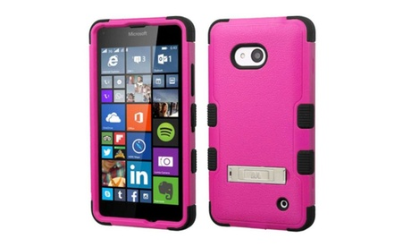 Insten Layer Silicone Case For Lumia 640 Metro T-mobile Hot Pink Black 5b25353e-9cb4-4494-93d4-6a07b7fd31ef