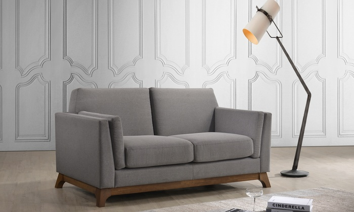 Wooddale Mid-century Modern Grey Fabric 2-seater or 3-seater Sofa ...