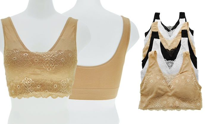 e1d4574bf5 Girls  Seamless Training Bra with Lace Modesty Panel (6-Pack)