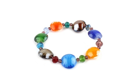 Luna Collection Multi Color Murano Glass Bracelet