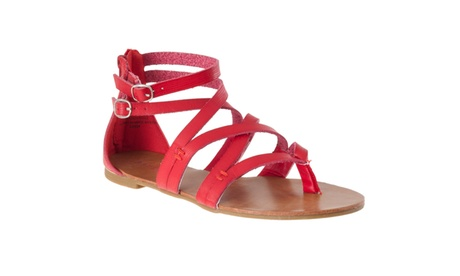 Riverberry Women's 'Laguna' Lizard-print Gladiator Sandals, Red 6986d898-f94b-4d29-acbb-7cdfe47a47a9