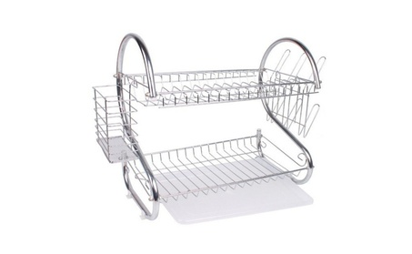 2-Tier Multi function Stainless Steel Dish Drying Rack 84dd4813-1a79-4e92-a090-9b1cf15dce9a