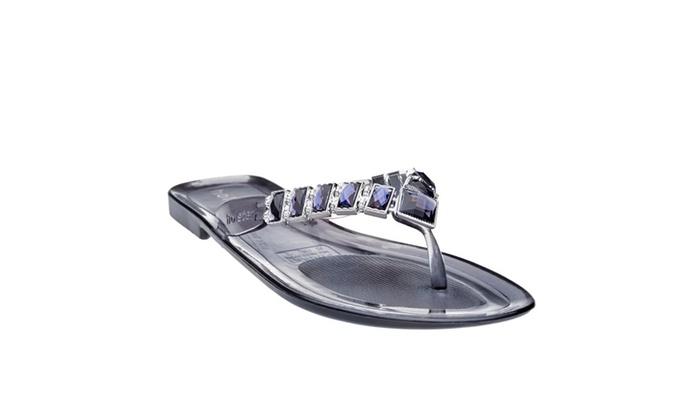 Women's Australian Vegan Jeweled Dazzle Flat Jelly Sandals