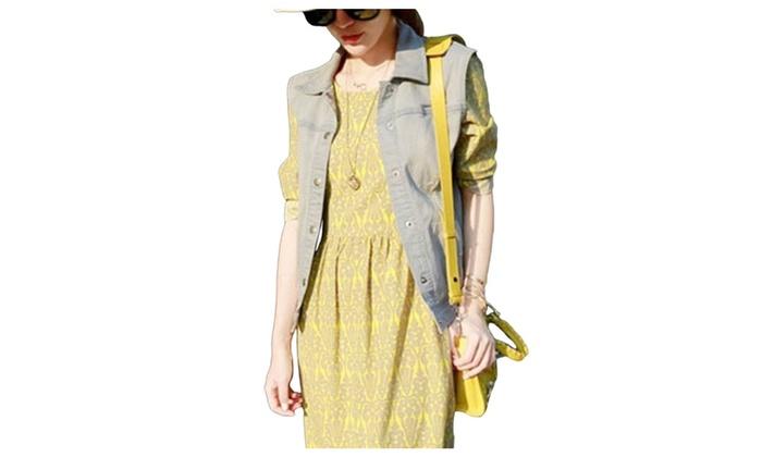 DPN Women's Cotton Autumn Casual Denim Vests Coats