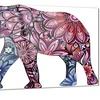 Purple Cheerful Elephant Animal Metal Wall Art 28x12
