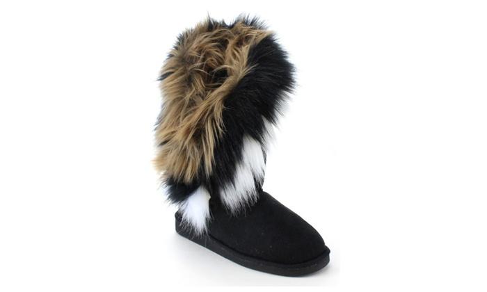 Beston EA38 Women's Cozy Slip On Mid-Calf Winter Boots