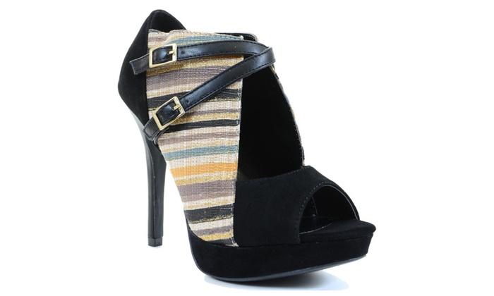 Stripe Woven Peep-toe Cut-out Strappy Heels Women
