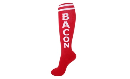 Bacon Socks Knee High Red & White Unisex Gym Athletic Sports