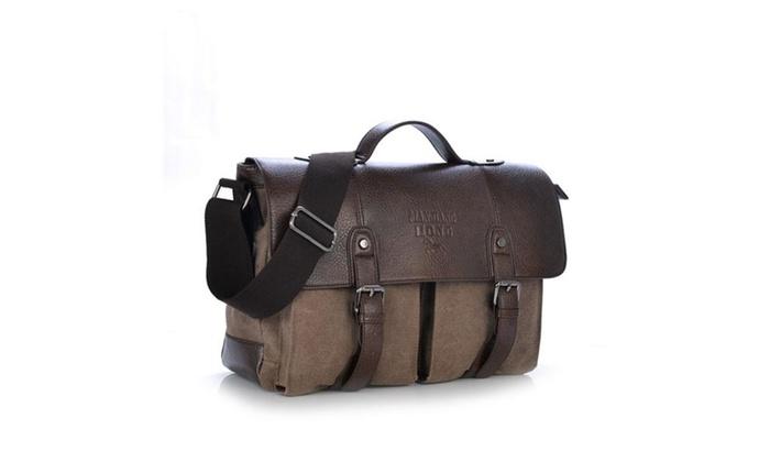 Canvas PU Leather Vintage Cross Body Messenger Bag/Briefcase