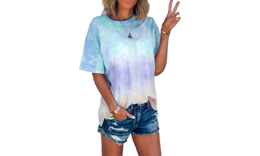 Womens Tie Dye Off Shoulder Tops Summer V-Neck Loose Flowy Striped Short Sleeve Blouses Tunic Shirts