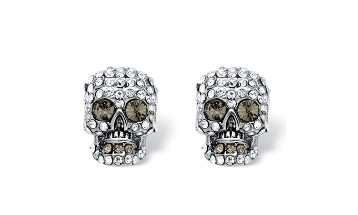 skull stud earrings made with swarovski elements groupon