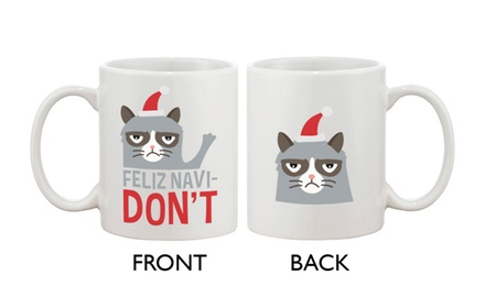 Cute Grumpy Cat Holiday Coffee Mug - Feliz Navidon't Funny Ceramic Coffee Mug