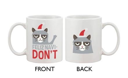 Cute Grumpy Cat Holiday Coffee Mug - Feliz Navidon't Funny Ceramic Coffee Mug