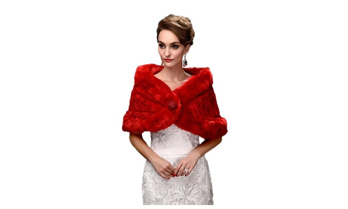Women's Faux Fur Wrap Cape Shawl For Wedding Dress Winter – Red / One Size