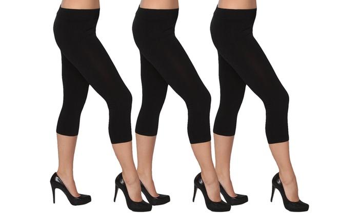 Women's Seamless Black Capri Leggings 3- Pack S/M