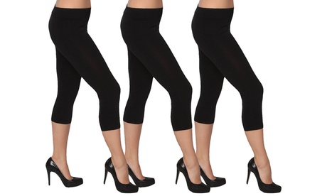 Women's Seamless Black Capri Leggings 3- Pack S/M 38513fb9-3a12-413d-ab0e-752c212dbd58
