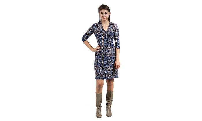 Women's Blue&Cream Abstract Print Faux Wrap Dress,684BLM,1XL