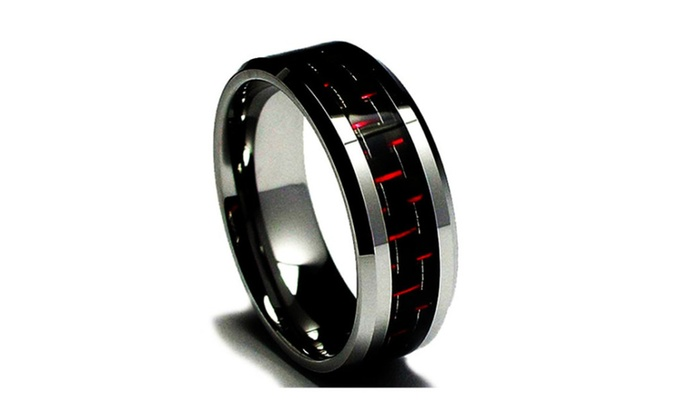 Tungsten And Anium Black Red Carbon Fiber Wedding Ring