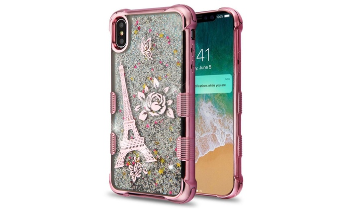 Quicksand Glitter Eiffel Tower Hybrid Rubber Case For Iphone Xs Max