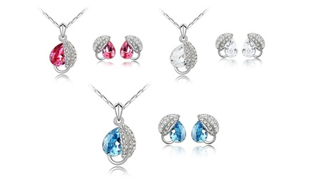 KATGI Fashion 18K White Gold Plated Summer Leave with Austrian Crystal Earrings and Necklace Set