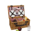 4-Person Hand Woven Honey Willow Insulated Picnic Basket Set w/ Acc