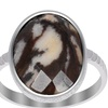 Orchid Jewelry Sterling Silver 7.85 Carat Outback Jasper Hammered Ring