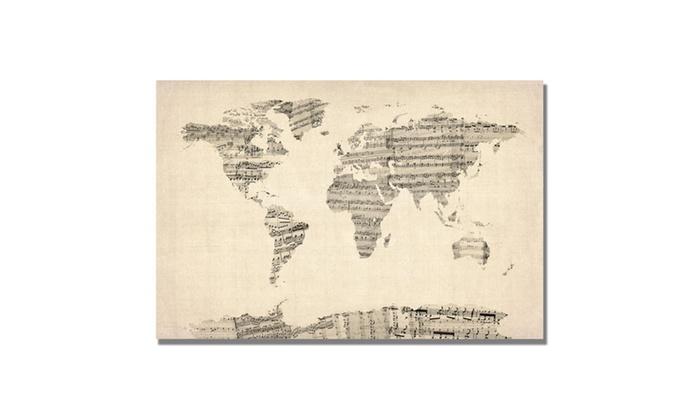 Michael tompsett old sheet music world map canvas art groupon michael tompsett old sheet music world map canvas art gumiabroncs Images