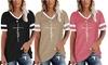 Women's Short Sleeve Faith Print T Shirt Casual Striped Color Loose Tee Tops