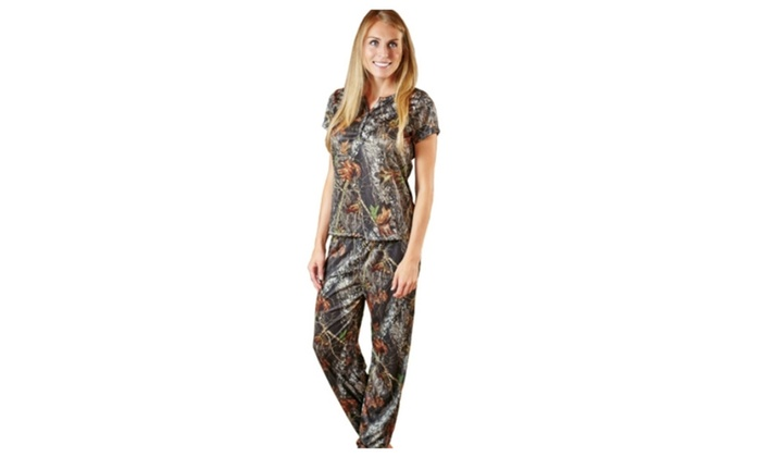 6981f14715a01 Mossy Oak Pajamas Womens Silky Camo Lounge Top w Pants 2pc Set | Groupon