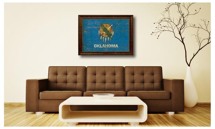 Oklahoma State Flag Framed Canvas Art Home Office Wall Décor Gift 6043