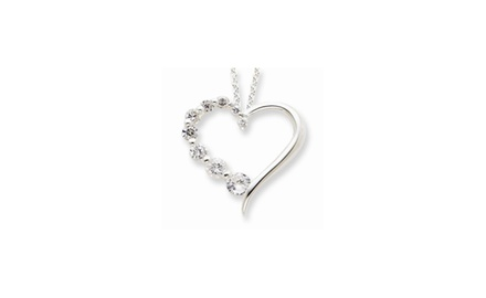 IceCarats Designer Jewelry Sterling Silver CZ Heart Journey Necklace