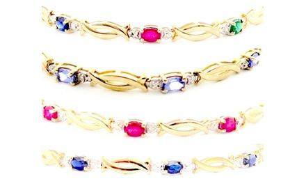 XO Diamond Bracelet- 1.70ct natural Multi Gems Stone set on 10K Yellow Gold