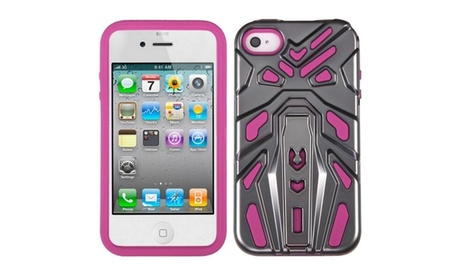 Insten Iron Grey Plating/Hot Pink Zenobots Hybrid Case For iPhone 4S 4 5c9f7914-7361-4ff6-9b26-68a4d6982cfe