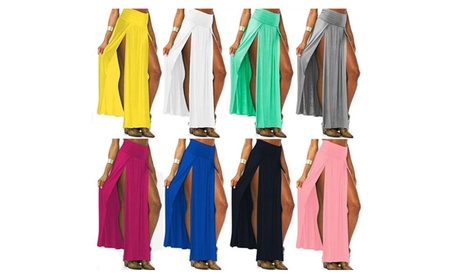 Women Sexy High Waist Double Side Split Casual Long Party Skirts 4fb4abc1-98b6-4cd6-8390-69d9cc4bc7b1
