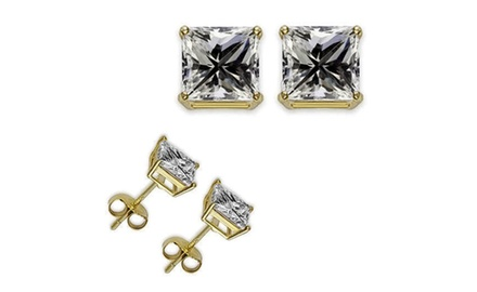 1/4ct Manmade Diamond Earrings 14K Yellow Gold over Sterling Silver Kids