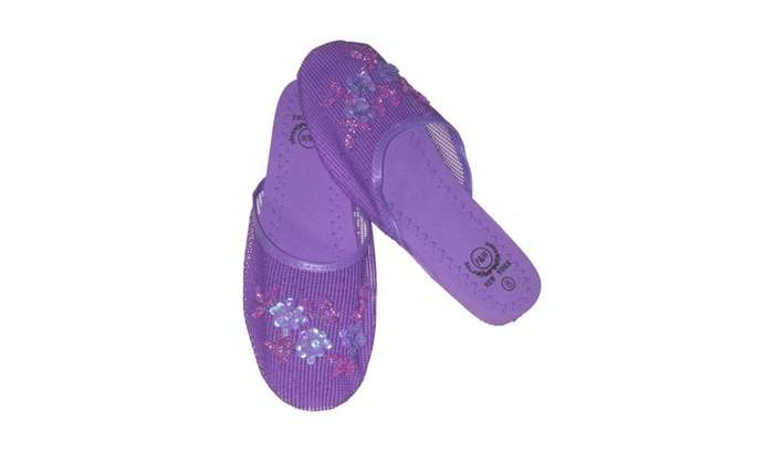 f2378784f1b7 Set of 6 Chinese Mesh Slippers Floral Design Sizes 6 to 11 Multi Color