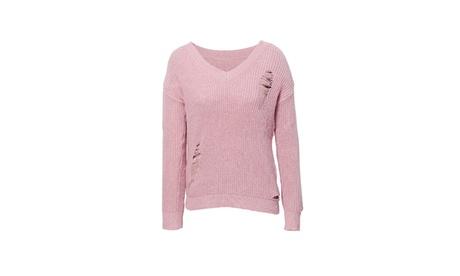 Celebrity Nyc Womens Pink Long Sleeve Ribbed Knitted Sweater 23514152-6d76-4e09-aa92-0a53b6e1e250