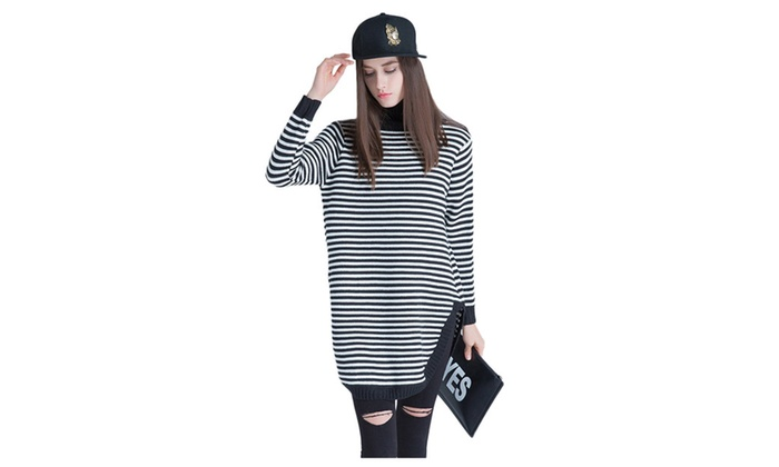 Women's Casual High Collar Stripes Loose Knit Pullover Sweater