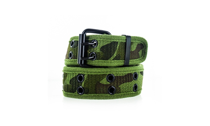 Faddism Unisex Dual Row Grommets Canvas Web Belt