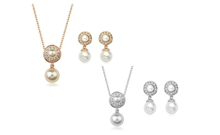 KATGI Fashion 18K Gold Plated Double Pearls with Austrian Crystal Earrings and Necklace Set