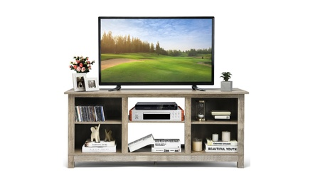 Costway 2-Tier 58'' TV Stand Entertainment Media Console Center Up to 65''